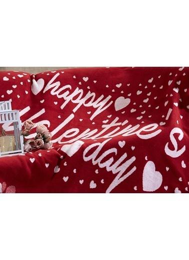 Dolce Bonita Home Tek Kişilik Pamuklu Battaniye Happy Valentines Day Renkli